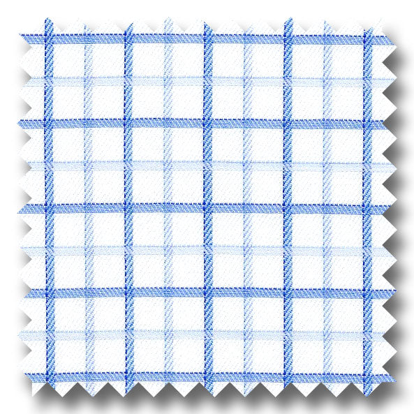 Dark Blue and Light Blue Check 2Ply Mini Twill - Custom Dress Shirt