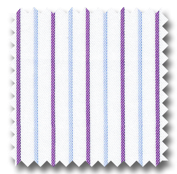 Plum and Blue Stripe 2Ply Mini Twill - Custom Dress Shirt