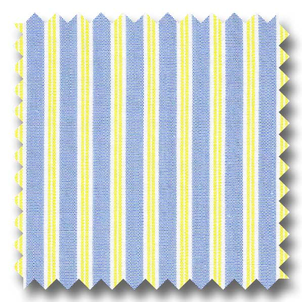 Yellow and Blue Stripe 2Ply Broadcloth - Custom Dress Shirt
