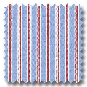 Blue and Red Stripe 170 2Ply Broadcloth - Custom Dress Shirt