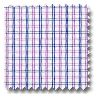 Lavender and Navy Check 2Ply Broadcloth - Custom Dress Shirt