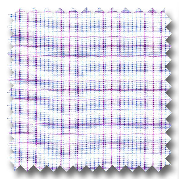 Plum and Blue Check 2Ply Broadcloth - Custom Dress Shirt