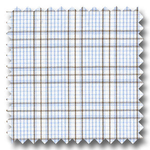 Brown and Blue Check 2Ply Broadcloth - Custom Dress Shirt