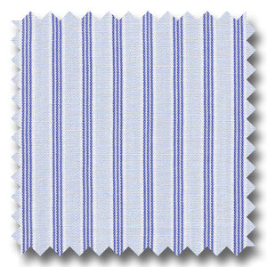 Light Blue and Blue Stripe 2Ply Broadcloth - Custom Dress Shirt