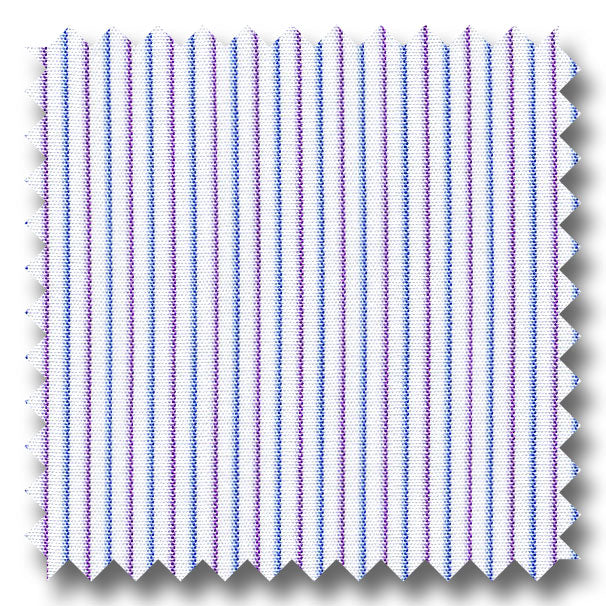 Blue and Plum Stripe 2Ply Broadcloth - Custom Dress Shirt