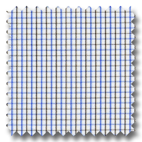 Blue and Brown Check 140 2Ply Broadcloth - Custom Dress Shirt
