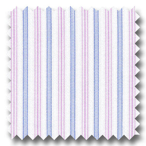 Blue and Pink Stripe 2Ply Broadcloth - Custom Dress Shirt