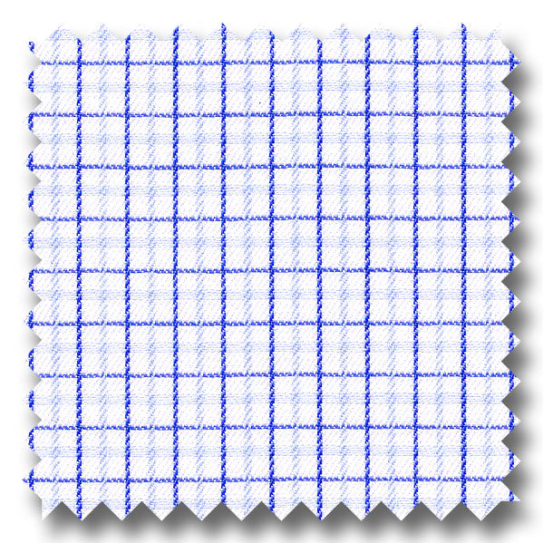 Light Blue and Navy Check 2Ply Mini Twill - Custom Dress Shirt