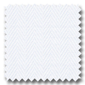 White on White Herringbone 2Ply - Custom Dress Shirt