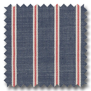 Navy, Red and Cream Stripe Broadcloth - Custom Dress Shirt