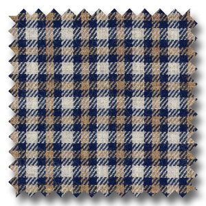 Tan and Navy Check Twill - Custom Dress Shirt