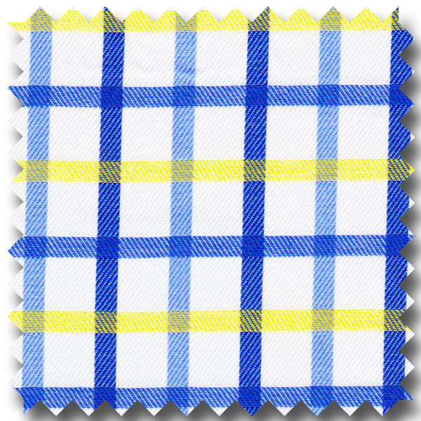 Bue And Yellow Check - Custom Dress Shirt