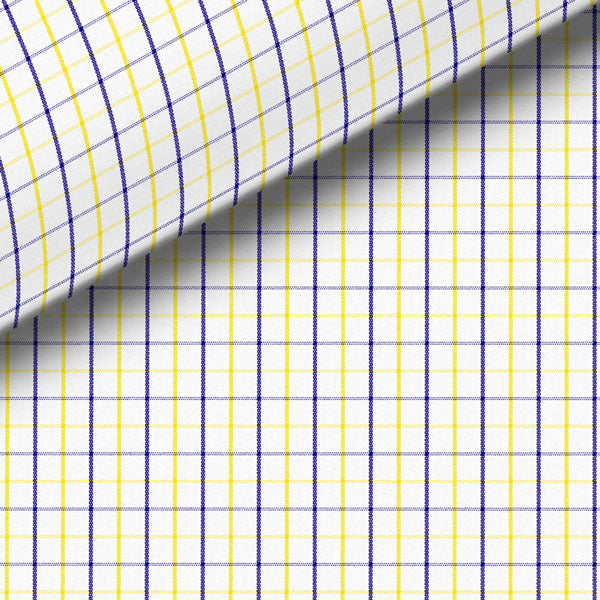Navy Blue & Yellow Check Broadcloth Dress Shirt
