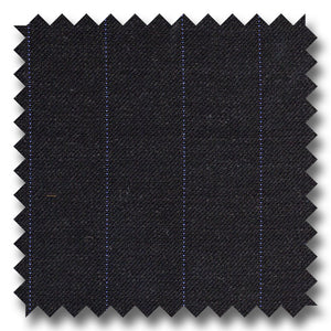 Charcoal Gray with Blue Pinstripes 100% Wool