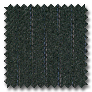 Charcoal with Silver & Blue Pinstripes 100% Wool