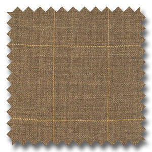 Tan with Cream Windowpane 100% Wool