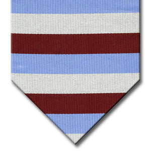 Light Blue, Burgundy and Silver Stripe Tie