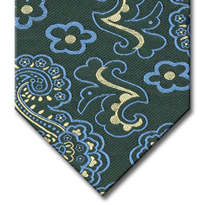 Green with Light Blue and Champagne Paisley Tie