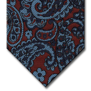 Burgundy with Navy and Light Blue Paisley Tie