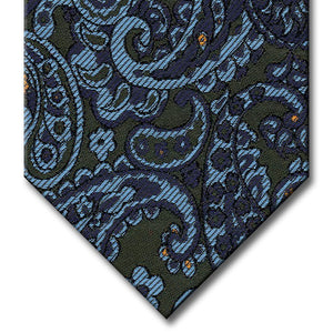 Dark Green with Navy and Light Blue Paisley Tie