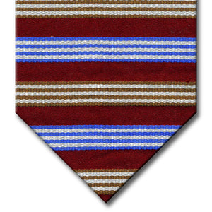 Burgundy with  Blue, Brown and Silver Stripe Tie
