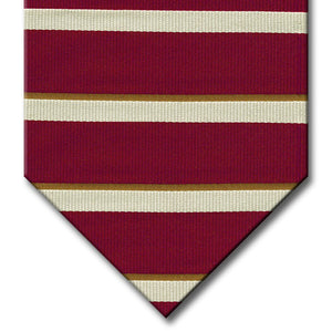 Burgundy with Brown and Silver Stripe Tie
