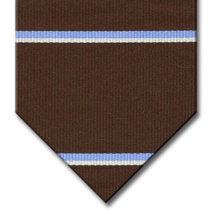 Dark Brown with Light Blue and Silver Stripe Tie