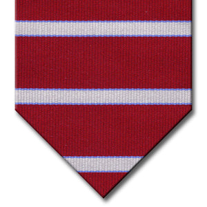 Burgundy with Light Blue and Silver Stripe Tie
