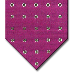 Pink with Green and Silver Floral Pattern Tie