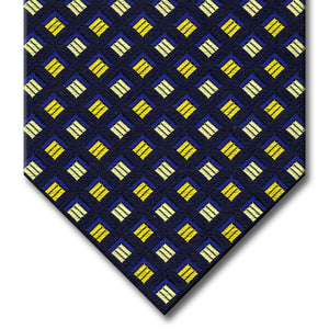 Black with Navy and Gold Geometric Pattern Tie