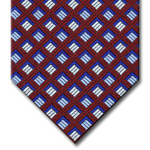 Burgundy with Navy and Silver Geometric Pattern Tie