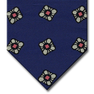 Navy with Silver and Pink Floral Pattern Tie