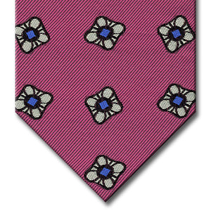 Pink with Silver and Blue Floral Pattern Tie