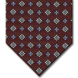 Burgundy with Silver and Light Blue Floral Pattern Tie