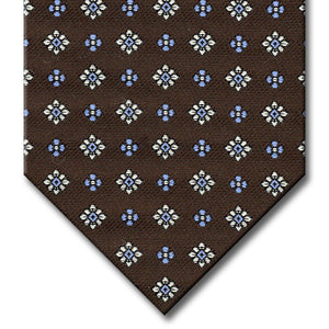 Dark Brown with Silver and Light Blue Floral Pattern Tie