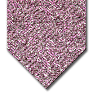 Pink with Silver Paisley Pattern Tie