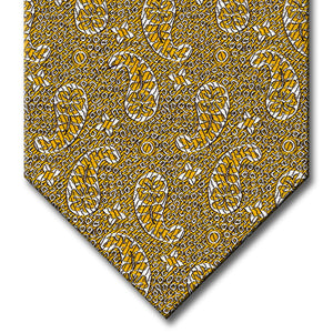 Gold with Silver Paisley Pattern Tie