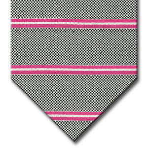 Silver with Pink Stripe Custom Tie