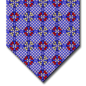 Blue and Silver with Red and Yellow Medallion Tie