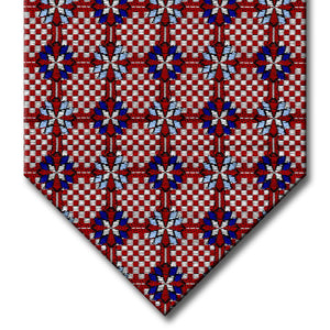 Red and Silver with Navy and Light Blue Medallion Tie