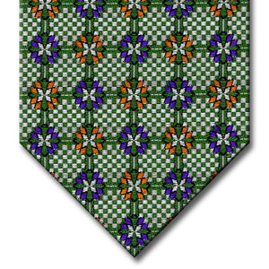 Green and Silver with Purple and Orange Medallion Tie