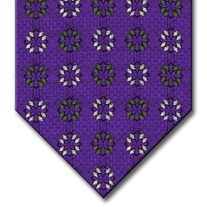 Purple with Green and Silver Medallion Tie