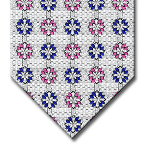 Silver with Navy and Pink Medallion Tie
