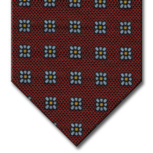 Burgundy with Pewter and Orange Floral Pattern Tie