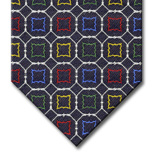 Navy and Silver with Red, Blue, Green and Orange Medallion Tie