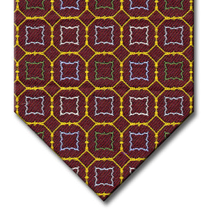Burgundy and Gold with Green, Blue and Silver Medallion Tie