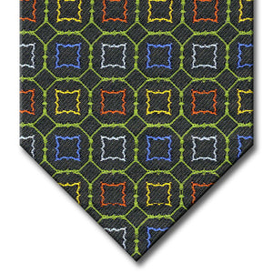Dark Green and Green with Red, Blue and Gold Medallion Tie