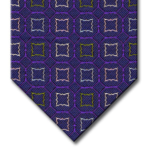 Blue and Purple with Green, Silver and Pink Medallion Tie