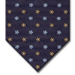 Navy with Light Blue and Brown Floral Pattern Tie