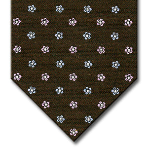Brown with Light Blue and Pink Floral Pattern Tie
